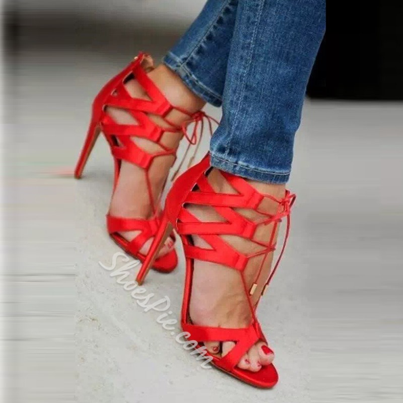 Red Sexy Stiletto Heel Sandals