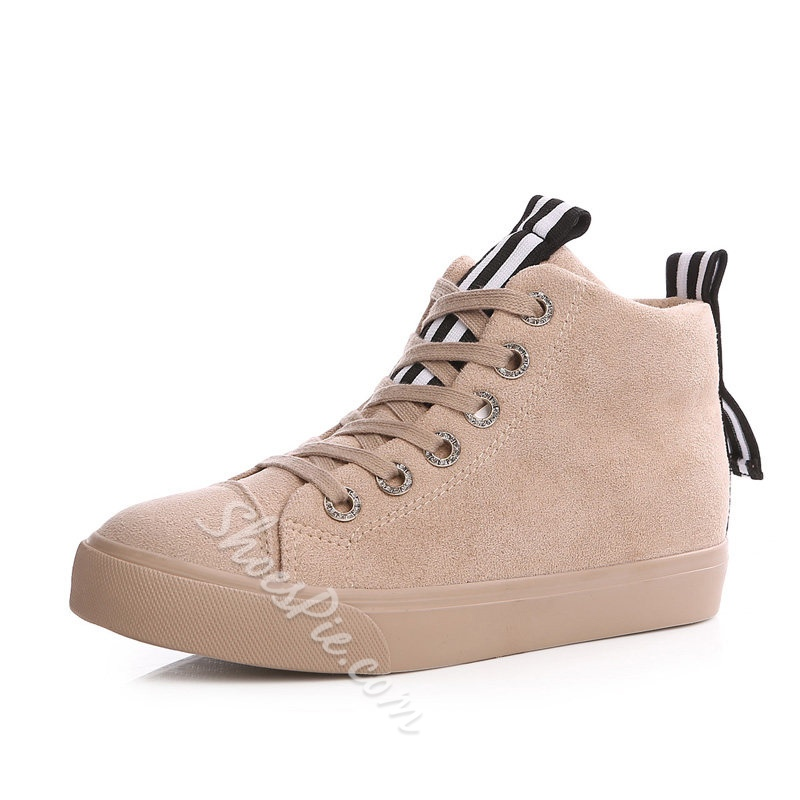 Stripe Lace-Up Platform Women's Shoes