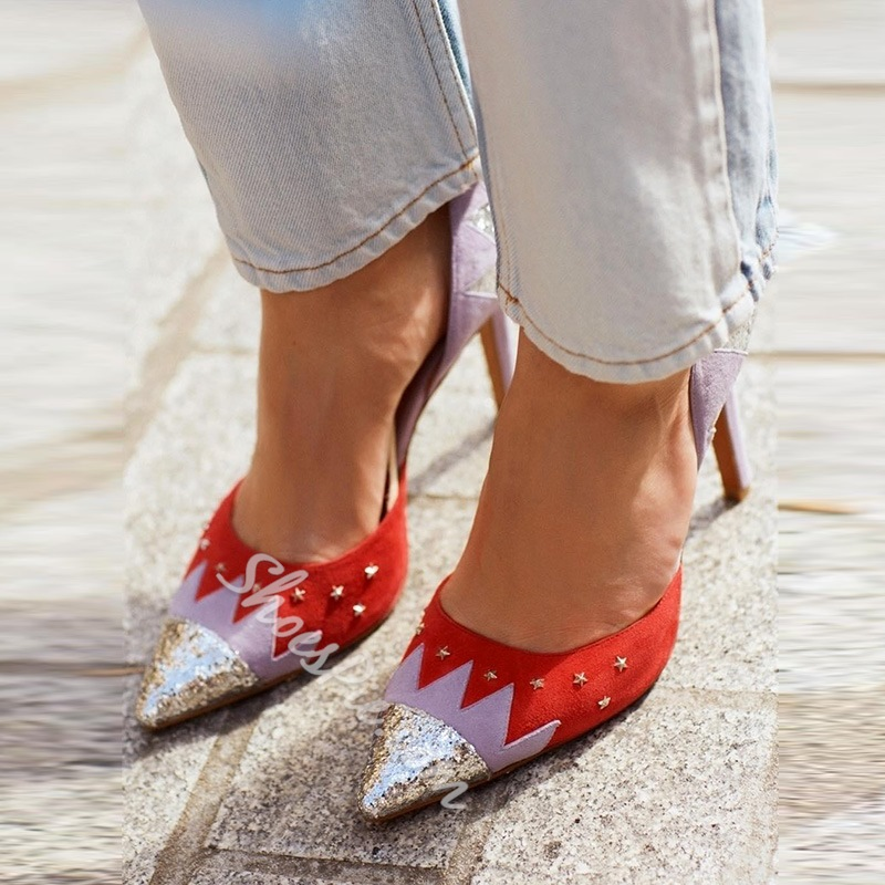 Rivet Red Slip-On Stiletto Heels