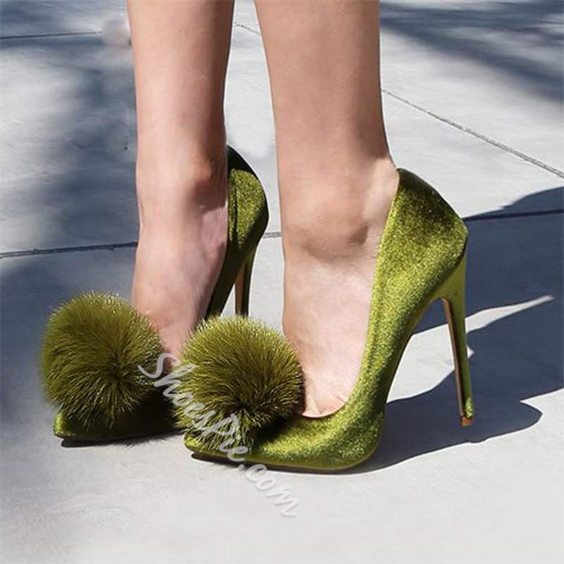 Pompon Green Slip-On Stiletto Heels