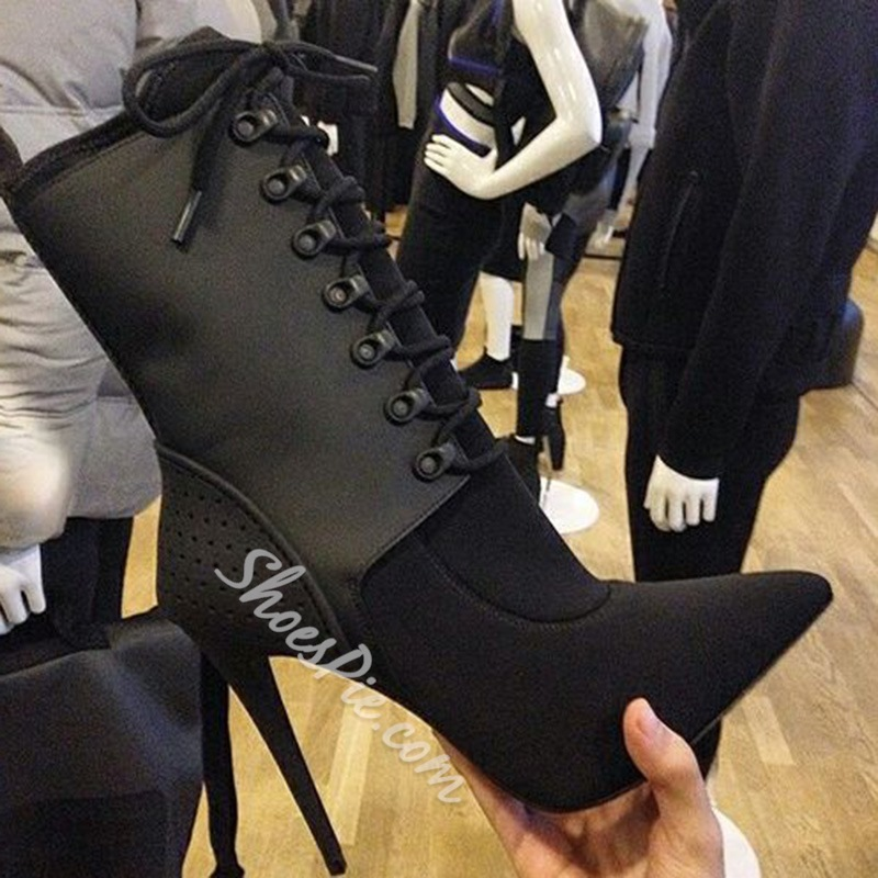 Black Lace-Up Front Stiletto Heel Boots