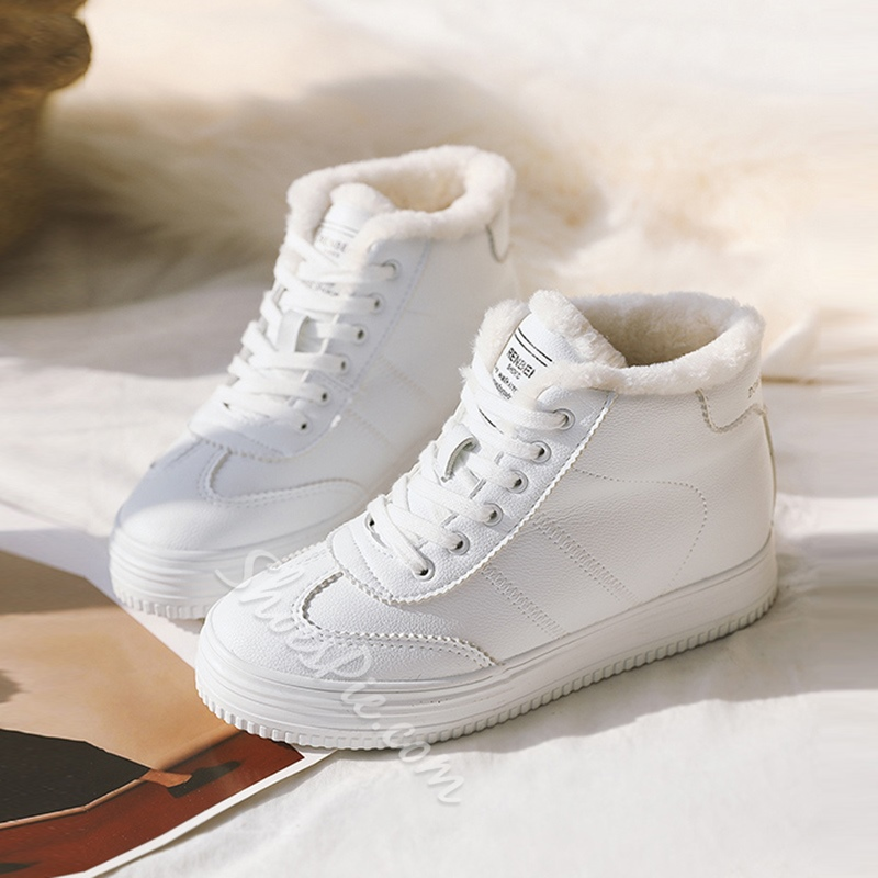Lace-Up Casual Solid Color Women's Shoes