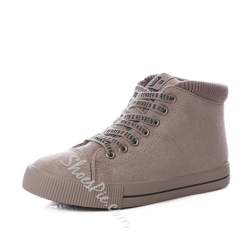 Solid Color Lace-Up Casual Women's Shoes