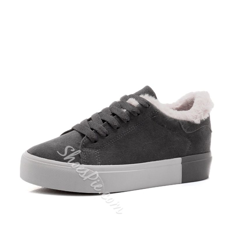 Casual Lace-Up Short Floss Women's Shoes