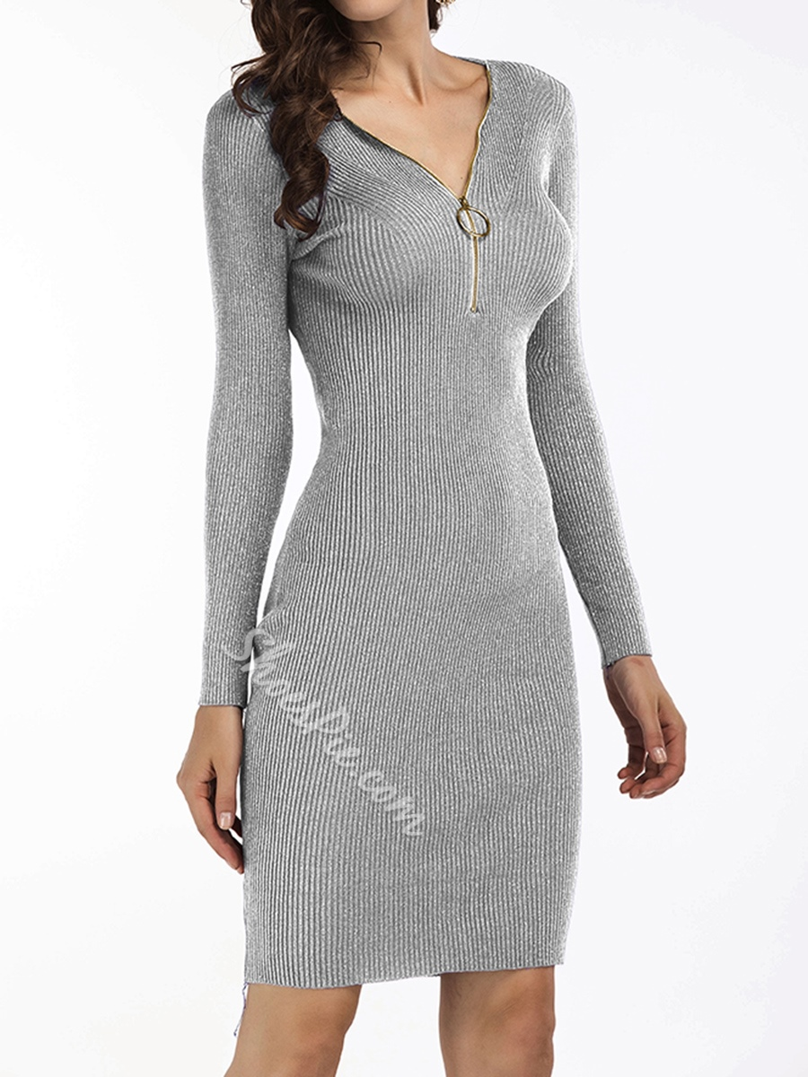 Zipper V-Neck Long Sleeve Bodycon Dresses