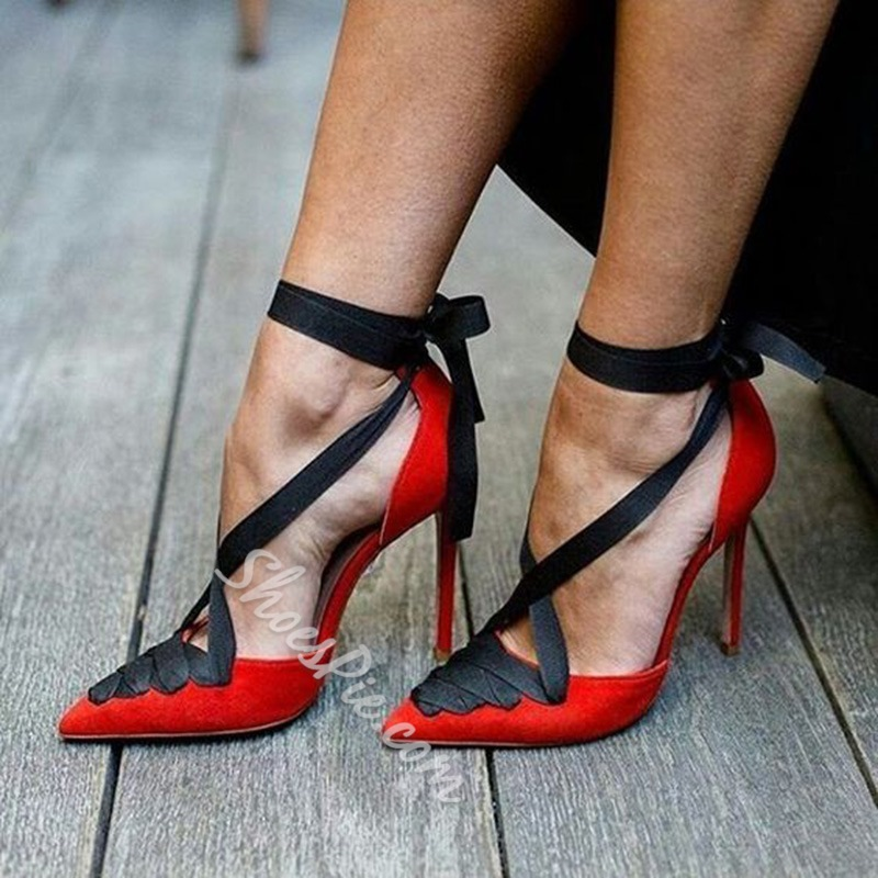 Shoespie Lace-Up Women's Red Stiletto Heels