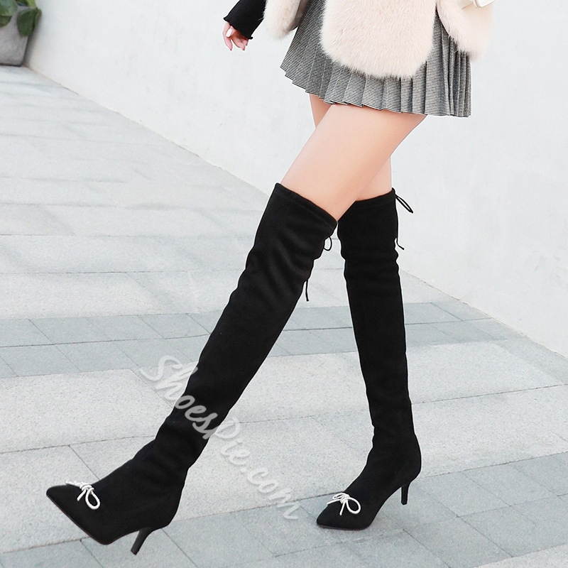 Bow Stiletto Heel Lace-Up Back Knee High Boots