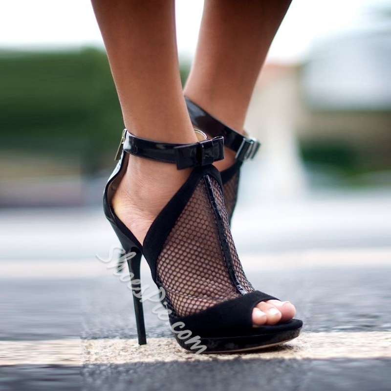 See-Through Black Bow Stiletto Heels