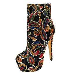 Appliques Platform Stiletto Heel Fashion Boots