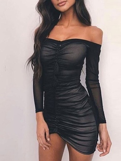 Slash Neck Tassel Backless Bodycon Dresses