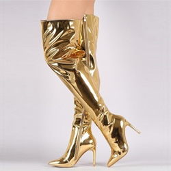 Stiletto Heel Patent-Leather Fashion Over Knee Boots
