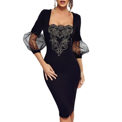 Lantern Sleeve Square Neck Mesh Bodycon Dresses