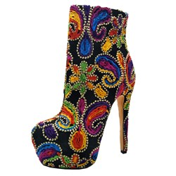 Fashion Appliques Platform Stiletto Heel Ankle Boots