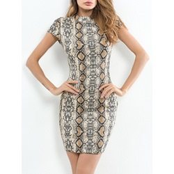 Snakeskin Print Short Sleeve Bodycon Dresses