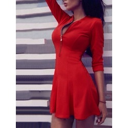 Sexy Zipper Long Sleeve Bodycon Dresses