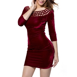 Round Neck Hollow Bodycon Dresses