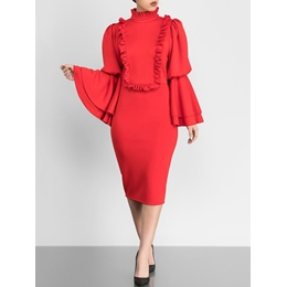 Stand Collar Stringy Selvedge Long Sleeve Dresses