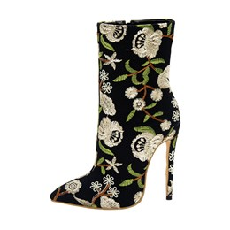 Stiletto Heel Floral Embroidery Ankle Boots