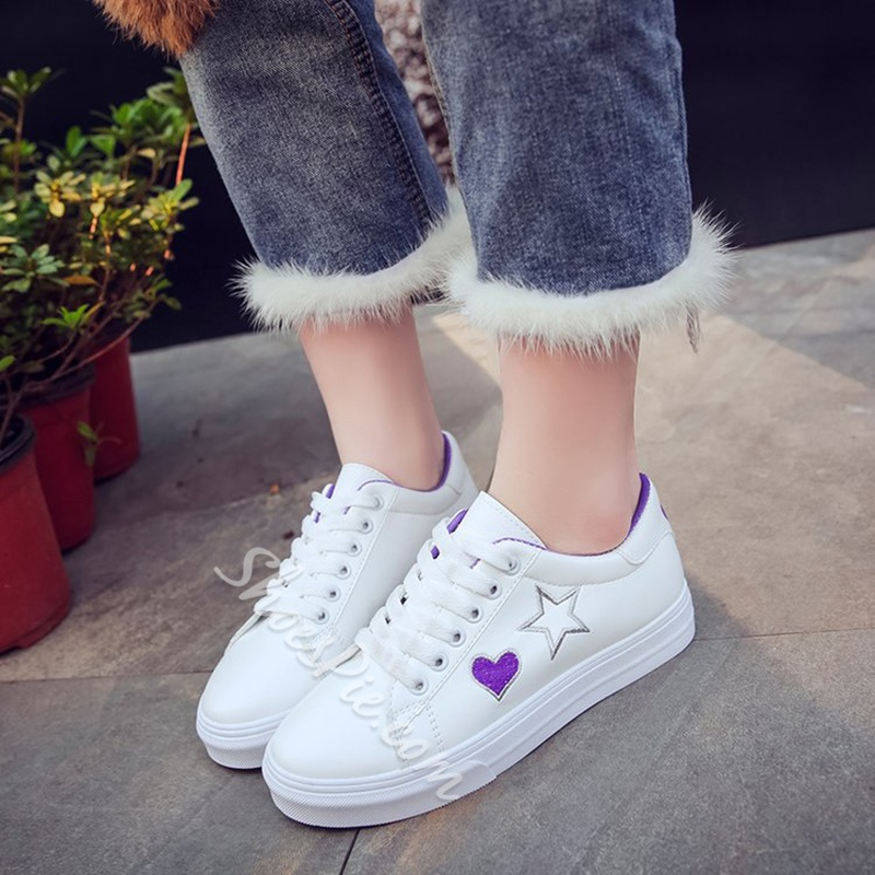 Solid Color Lace-Up Women's Shoes