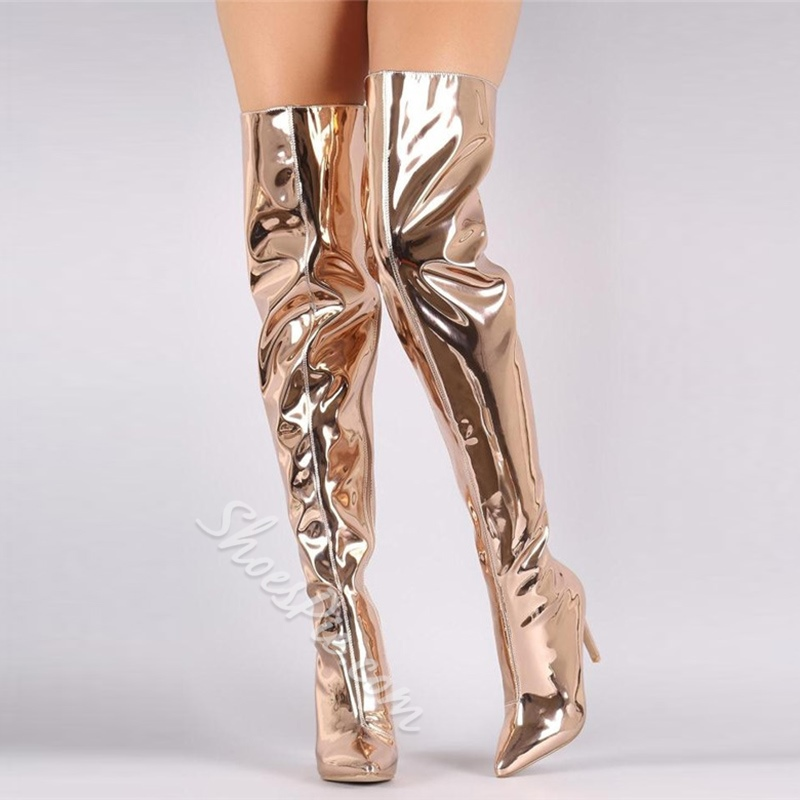 Shoespie Stiletto Heel Metallic Thigh High Boots