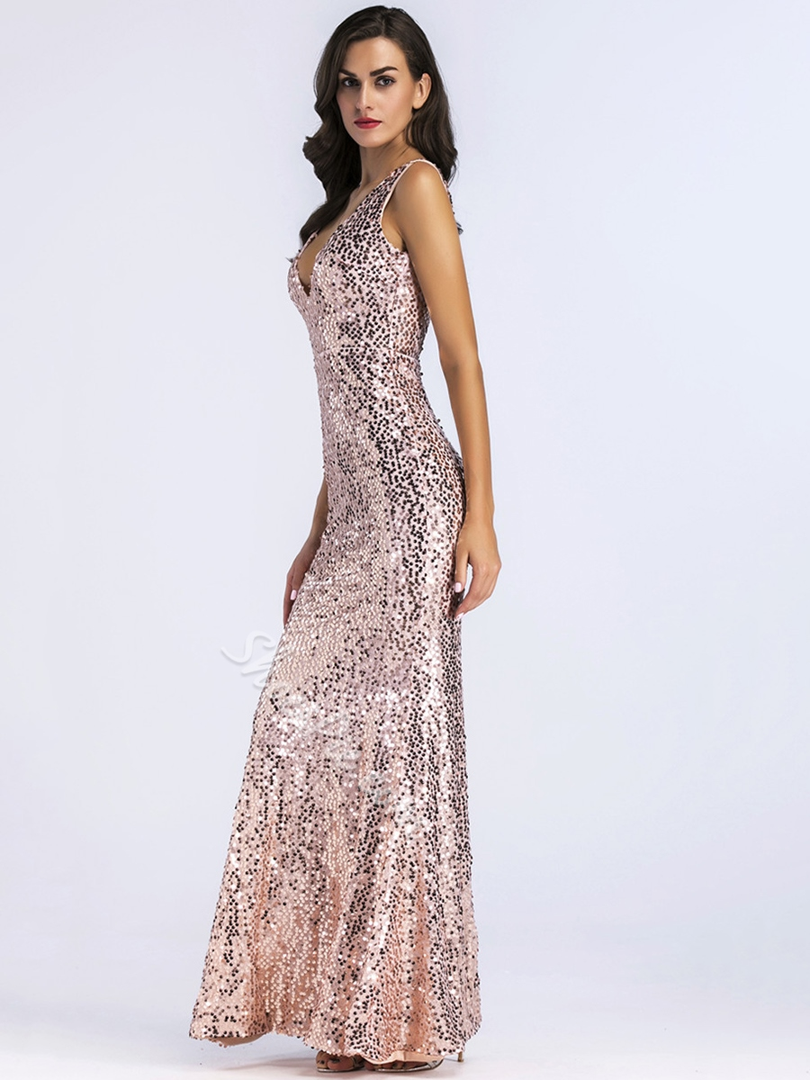 V-Neck Sequins Sleeveless Evening Dresses