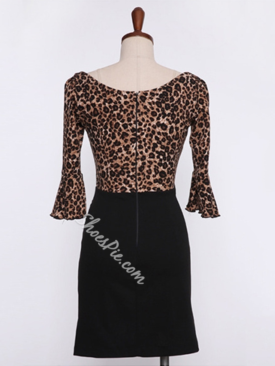 Sexy Leopard V-Neck Flare Sleeve Bodycon Dresses