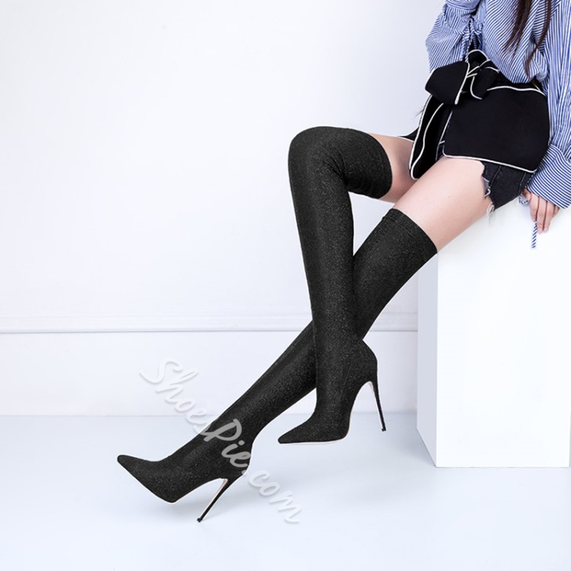Stiletto Heel Slip-On Knee High Boots