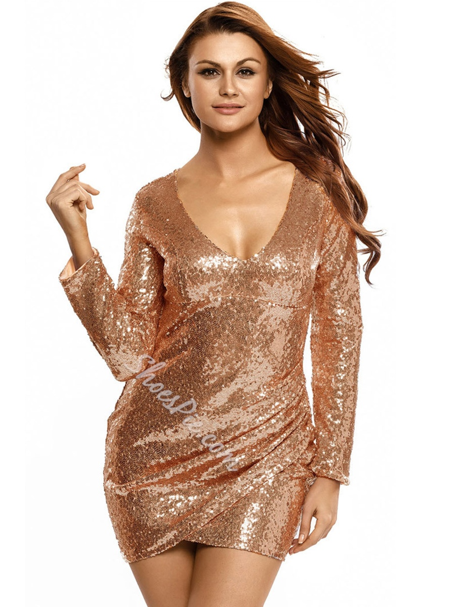 V-Neck Sequins Long Sleeve Bodycon Dresses