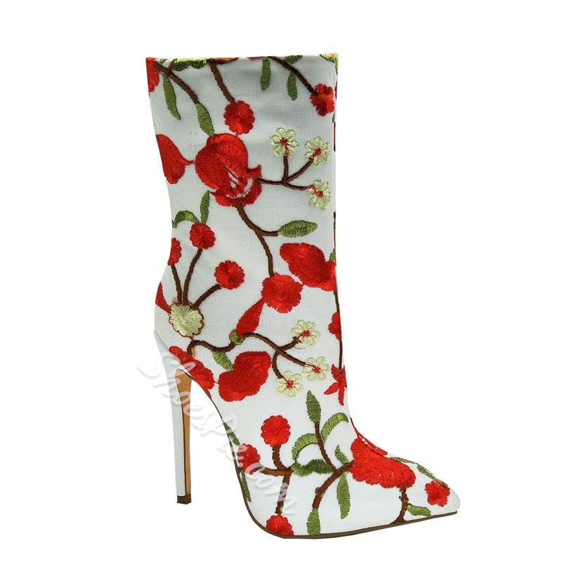 Embroidery Stiletto Heel Floral Boots