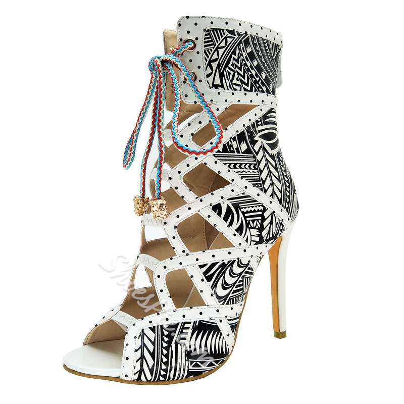Cross Stiletto Heel Strap Print Stiletto Heel Boots