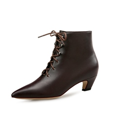 Lace-Up Chunky Heel Front Fashion Boots