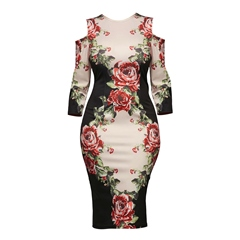 Floral Hollow Long Sleeve Bodycon Dresses