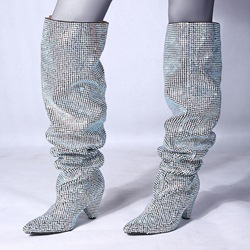 Shoespie Rhinestone Heels Sexy Knee High Boots