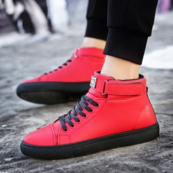 Round Toe Lace-Up Velcro Sneakers