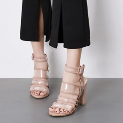 Solid Color Strappy Buckle Sandals
