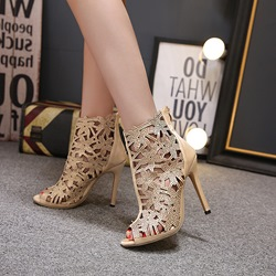 Rhinestone Hollow Peep-Toe Stiletto Heels
