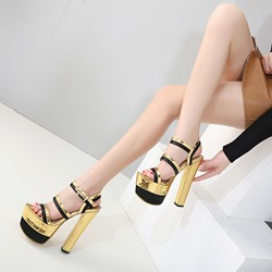 Golden Open Toe Platform Stiletto Heels