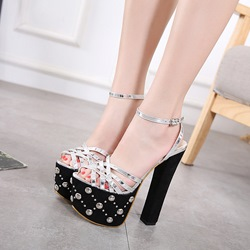 Rivet Platform High Chunky Heel Sandals