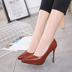 Solid Color Slip-On Stiletto Heel Pumps