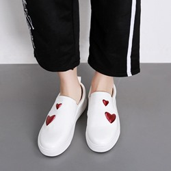 White Slip-On Heart Women's Sneakers