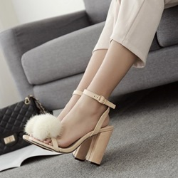 Pompon Line-Style Buckle Dress Sandals