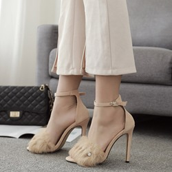 Line-Style Buckle Stiletto Heel Sandals