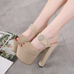 Platform Peep Toe High Chunky Heels shoespie