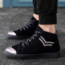 Casual Black Lace-Up Men's Sneakers