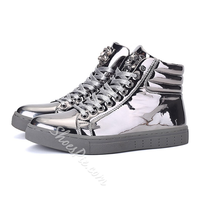 Casual Lace-Up Round Toe High-Cut Upper Sneakers