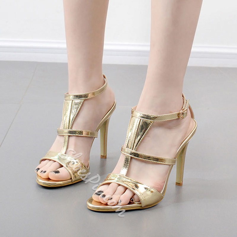 Golden T-Shaped Buckle Dress Sandals
