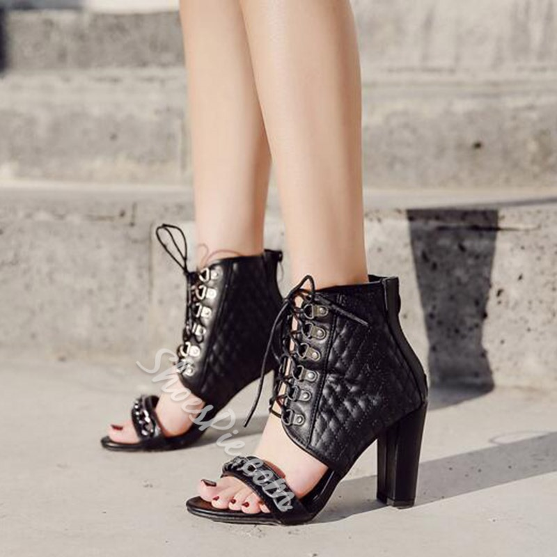 Black Cross Strap Open Toe Sandals