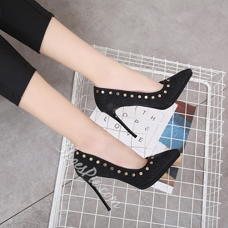 Rivet Slip-On Solid Color Stiletto Heels