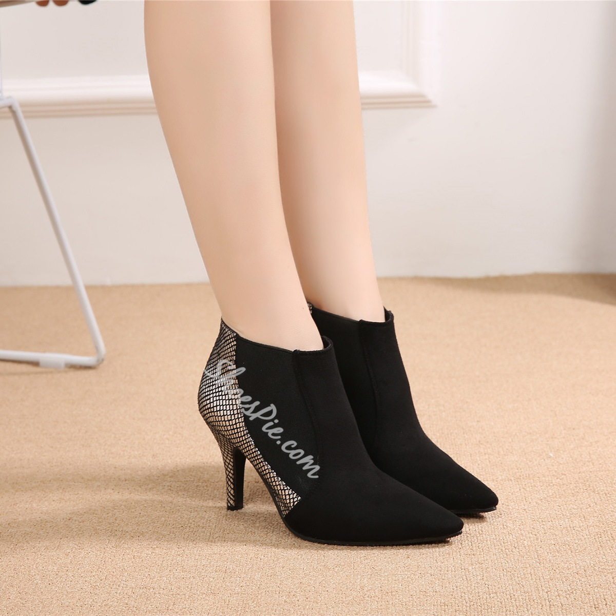 Black Stiletto Heels Slip-On Boots