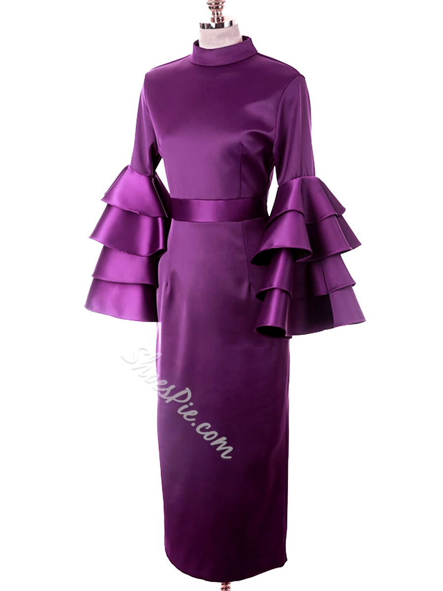 Purple Stand Collar Ruffle Sleeve Bodycon Dresses